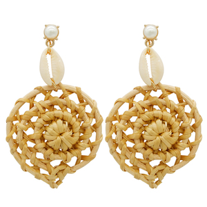 Wholesale trending hanging new model gold pearl stud handmade wood shell bamboo woven earring jewelry drop earrings for girls