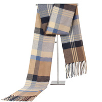 Top quality 2018 Business Long Warm Jacquard Pashmina Scarf Winter Men Thick Check Pattern Scarf