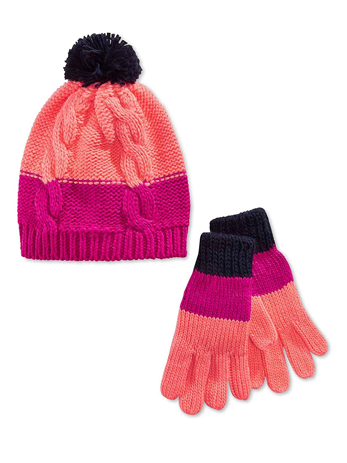 ccffa30a73f Get Quotations · Osh Kosh Little Girls Color Blocked Cable Knit Hat and Gloves  Set - Size 4-