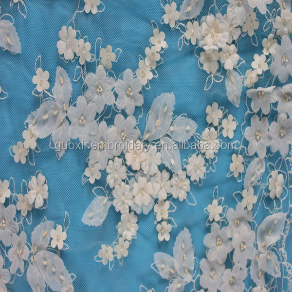 2016 Beige bridal 3d flower lace embroidered fabric with beads