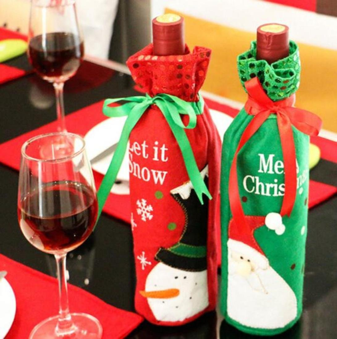 Iuhan Christmas Santa Claus Red Wine Bottle Cover Bags Champagne Wine Bottle Sets (Random Color Style)