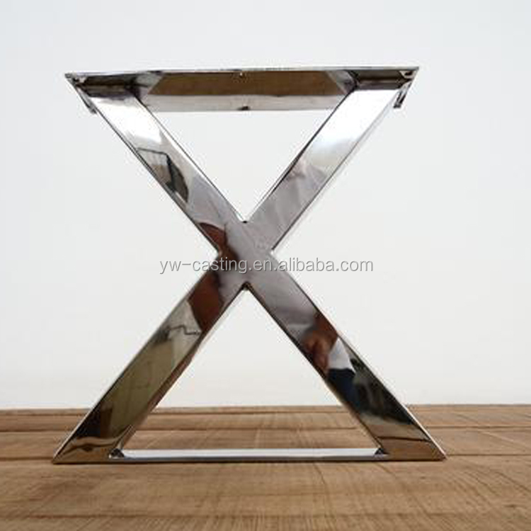 China Manufacture Furniture Stainless Steel Polishing Finished X Shape Wood Table Leg