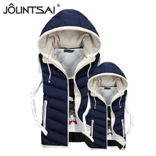 Hot Sale Lovers Brand New Slim Men and Women Vest 2015 Autumn Winter Hooded Cotton Padded Vests 4 Colors 5 Size AE-ME-155