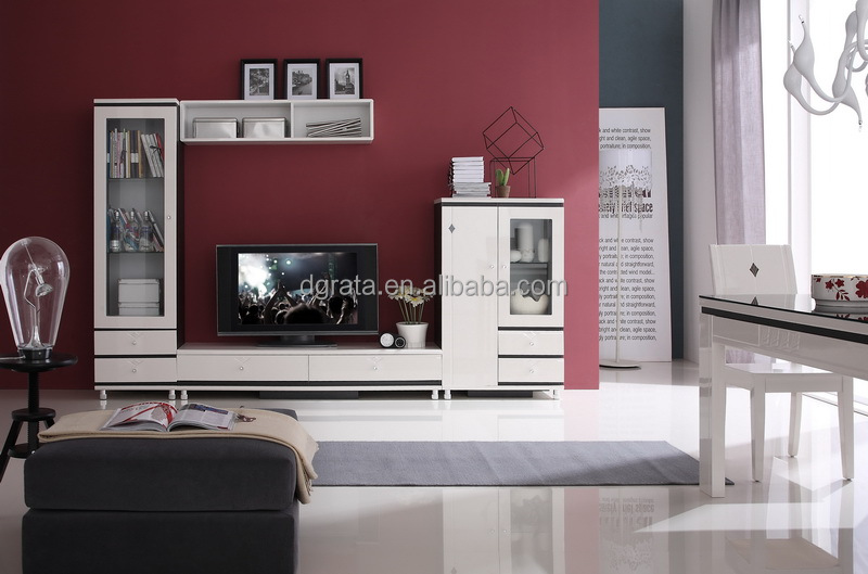 2014 White High Gloss Tv Wall Unit Was Made From E1 Mdf Board And ...