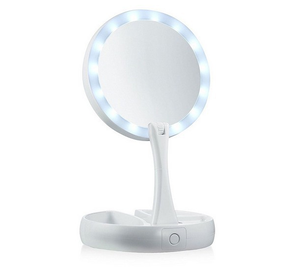 Folding Portable Makeup Mirror Magnifying Glass with LED Lights