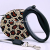 Wholesale Crystal retractable dog lead Bling dog track leash with rhinestones