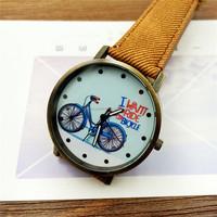 2017 Fashion Brand Quartz Watches Bicycle Pattern Cartoon Watch Women Casual Vintage Leather Girls Kids Wristwatches gifts Clock