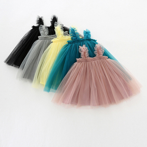 Baby Girl Spaghetti Straps Tulle Dresses Kids Girls Sleeveless Tube Top Party Dress Solid Color A-line Casual Summer Dress