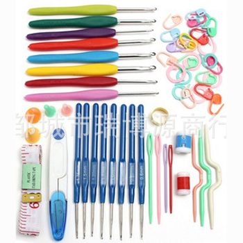 Multicolor Knitting Needles Mixed Metal Hook Crochet Template Kit Tool Band DIY Crafts