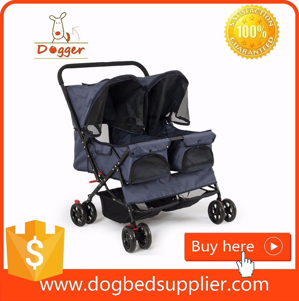 Oxford Fabric Travel System Folding Double Pet Dog Pram Stroller