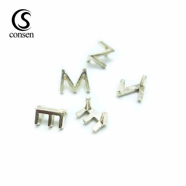 Alphabet letters making handbag gold metal brand tag logo for bags