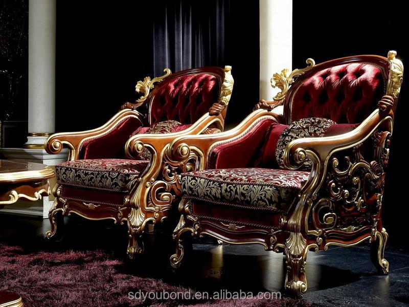 0025 European Antique Style Royal Fabric Sofa Set; Living Room ...