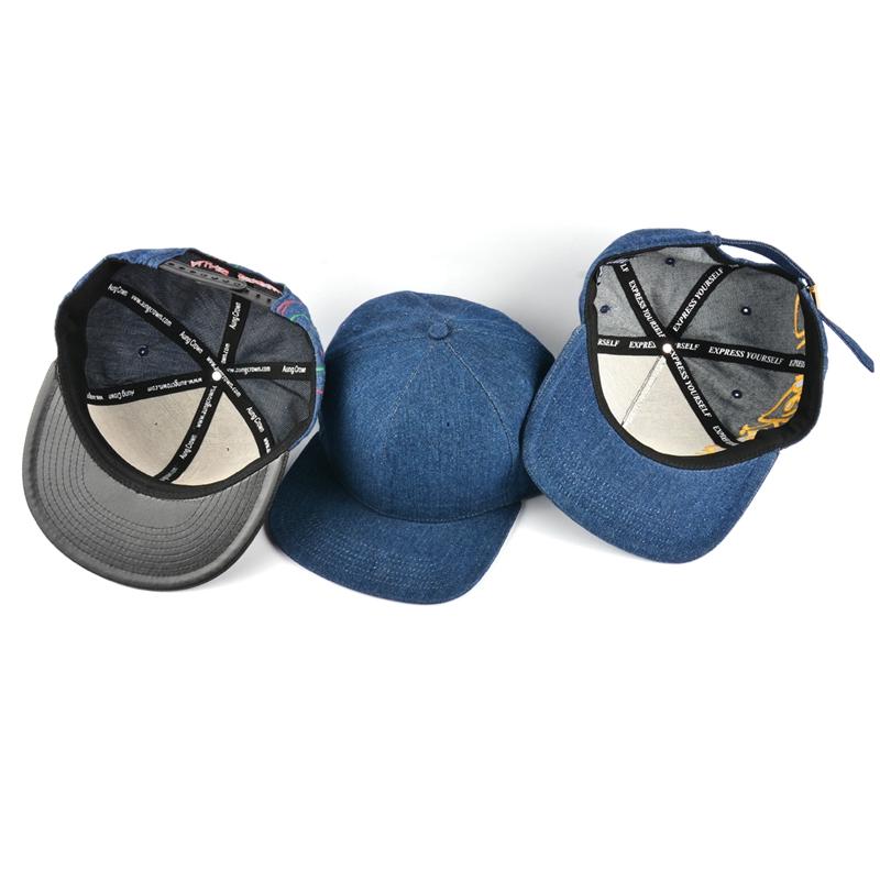 66ffbc9f3c98b0 Customize Plain Blank Flat Brim Yupoog Hats/Cheap Blue Denim Snapback Cap