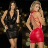 Women Sexy Dress For Club/ Sexy PU Leather Lingerie With Back Hollow Out Design