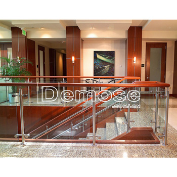Glass Railing Double Cement Stairs