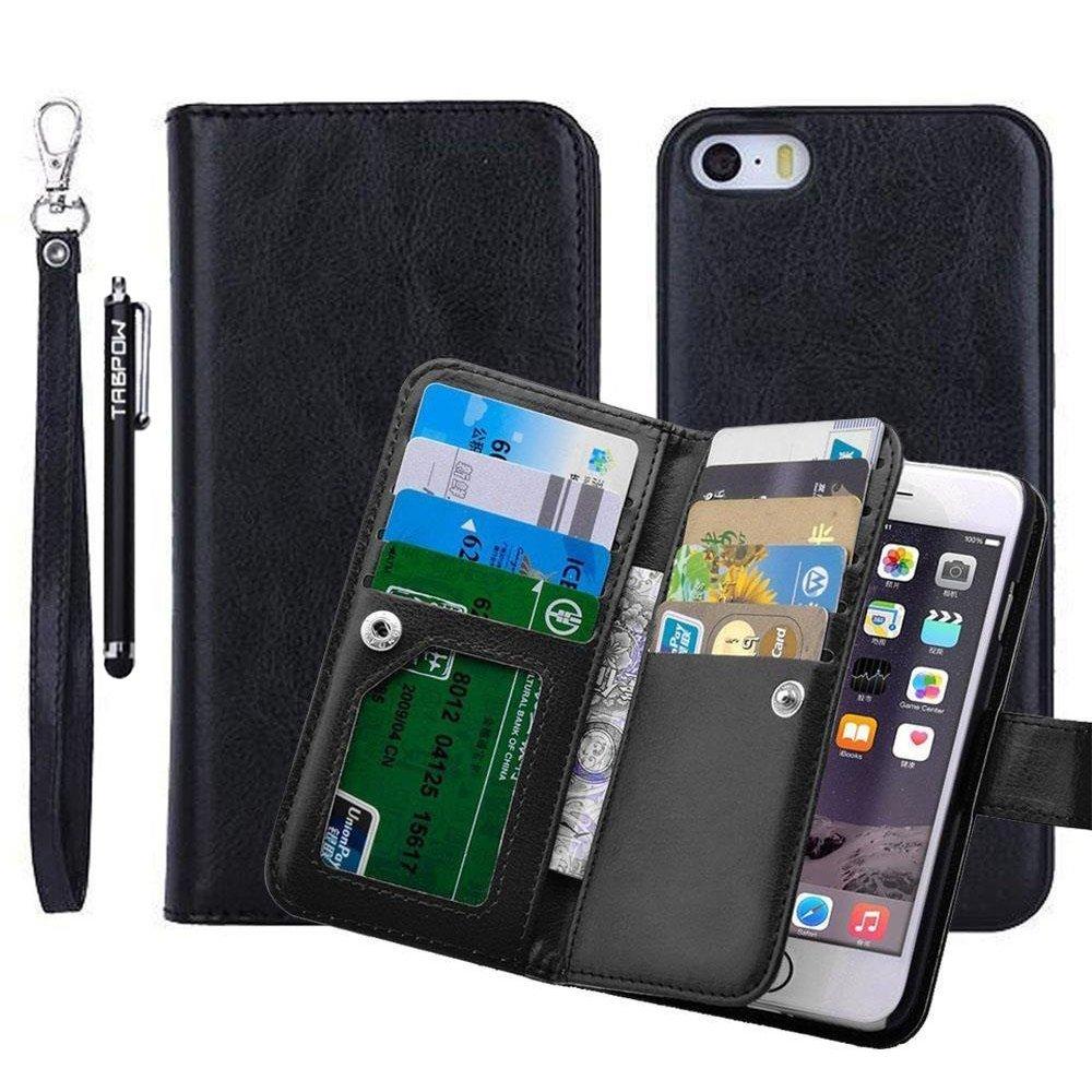 iPhone 6 Plus Case, iPhone 6s Plus Case, TabPow [Wallet Case] 9 Card Holder [Detachable Wallet Folio] PU Leather Flip Case Cover For iPhone 6 Plus / iPhone 6s Plus (5.5 inch), Black