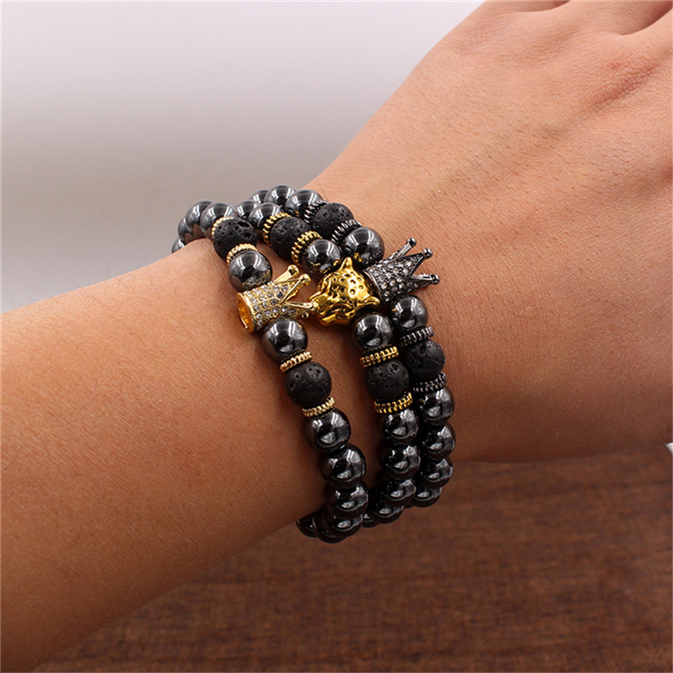 Fashion Simple Fit Jewelry 8mm Hematite Bead King Crown Charm Bracelet For Men