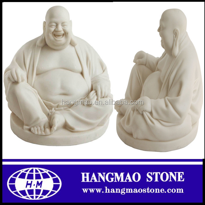 White Marble Laughing Buddha Garden Statues For Sale