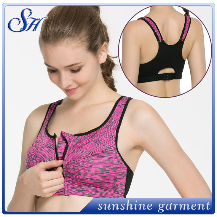 2016 wholesale sexy <strong>sport</strong> wear photos hot image with zip fitness yoga <strong>sports</strong> women sexy nude bra