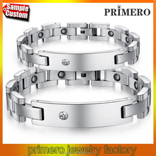 Couple stainless steel magnetic bracelet health care engraved jewelry wholesale