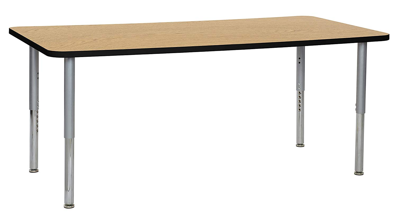 """ECR4Kids Premium Thermo-Fused 36"""" x 72"""" Mobile Rectangular School Activity Table, Super Legs w/Glides and Casters, Adjustable Height 19-30 inch (Oak/Black/Silver)"""