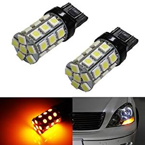 iJDMTOY (2) 360° 27-SMD-5050 7440 7441 7443 7444 T20 LED Bulbs For Turn Signal Lights, Daytime Running Lights, Driving Lights, Amber Yellow
