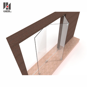 High Quality bi curved folding glass door toilet