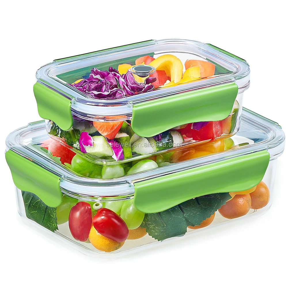 High quality 450ml & 1200ml Rectangle tritan plastic stackable food storage container set with lids
