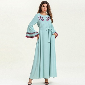 Wholesale Muslim Abaya Turkey India Maxi Dress Embroidered Layered Tassel Long Flounce Sleeve Waistbelt