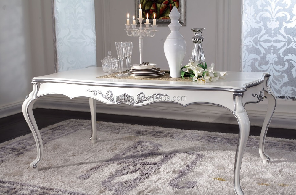 New Clical Dining Room White Table Silver Leaf Long