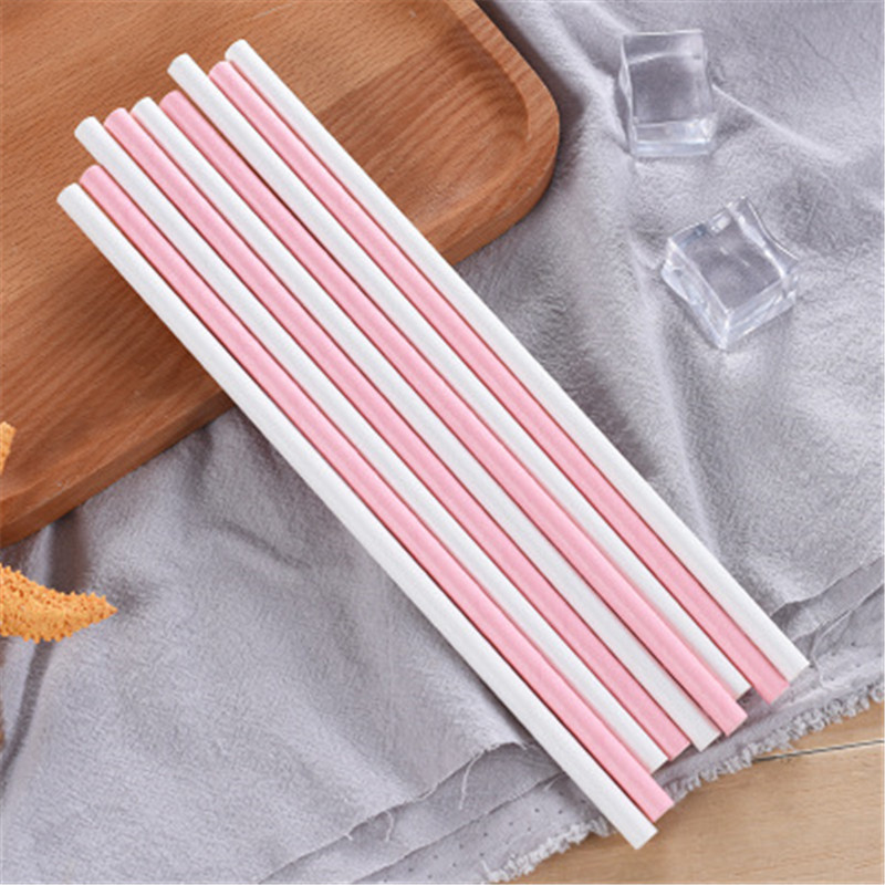 Eco Friendly Solid Color Pink White Party Disposable Juice Paper Straws