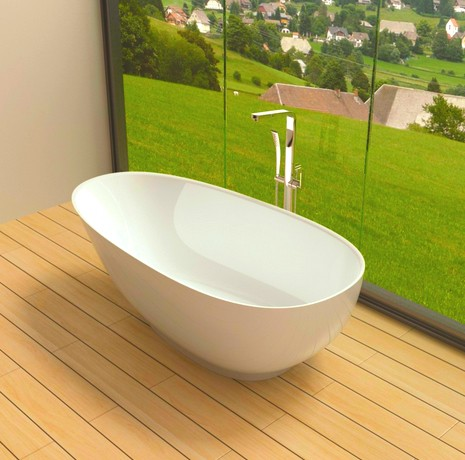 K c01 white stand alone solid surface stone resin bathtub for Freestanding stone resin bathtubs