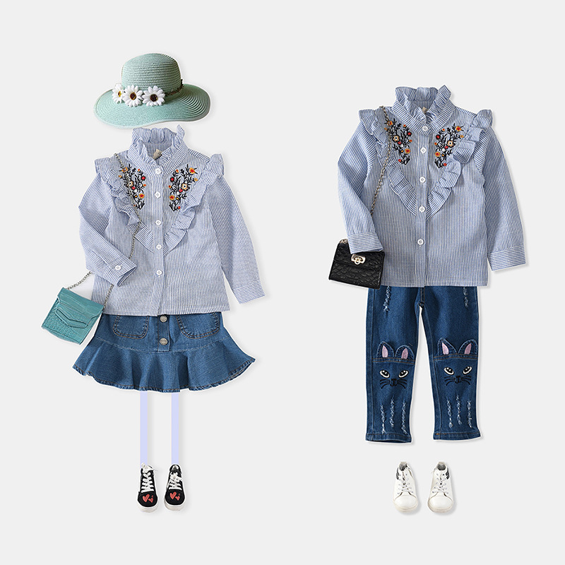 Fashion Clothing Kid Frill Short Blouse Standing Collar Embroidered Shirt With Stripe Design