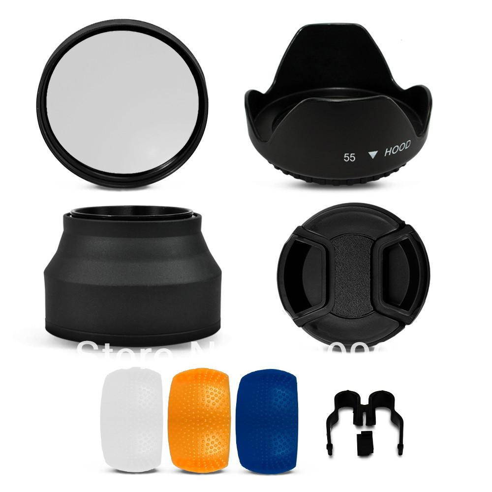 100% ГАРАНТИЯ 55 ММ УФ-Фильтр + Рассеиватель + Бленда для Nikon D70 D80 D90 D100 D3000 D3100 D3200 D5000 D5100