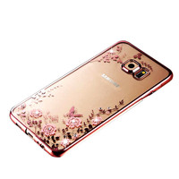 free sample phone case Rhinestones floral cheap crystal display cases for s7 case