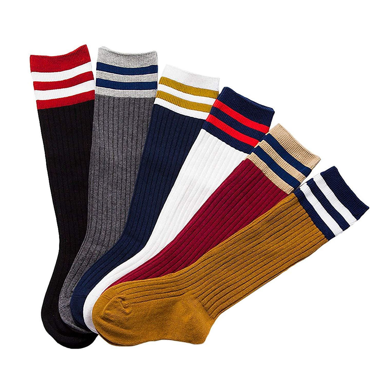 6 Pack Baby Girls Boys Toddler Kids Cotton Stripe Knee High Stockings Tube Football Socks