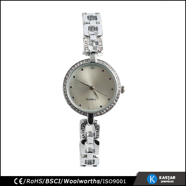 Slim watch women mineral glass stones bezel stainless steel back customised watch logo on watch face and crown