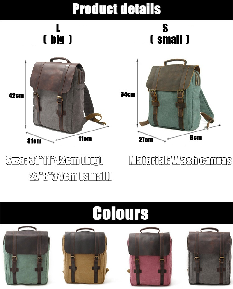 Elegant European vintage design cotton canvas crazy horse leather rucksack high school backpack bag back pack bagpack