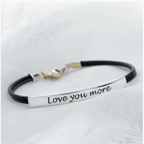 Custom Stainless Steel Engraved Bar Inspirational Quotes Love you More Bracelet Statement Bangles