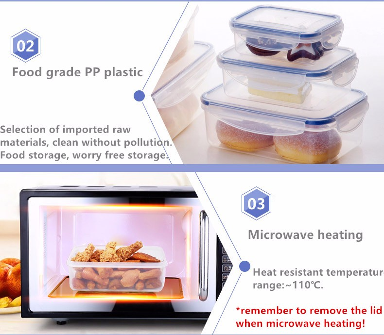 1L Leakproof 2 Compartment  Meal Prep Food Container Plastic Lunch Box