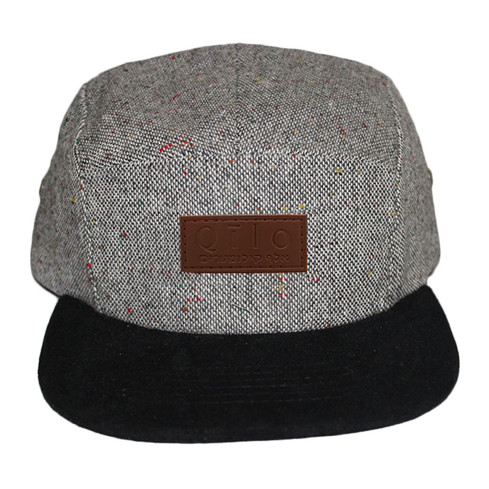 14dfa52cfc5 New Streetwear Hip Hop Cool leather Patch Flat Bill Leather 5 Panel Camp Cap  Custom Camo Men s Snapback Hat Wholesale