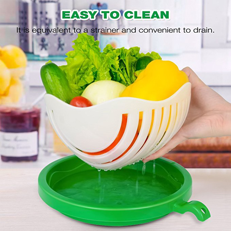 Amazon Hot Sale Salad Cutter Bowl Fruit Vegetable Chopper Dual Use Bowl Make Salad with Large Size