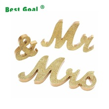 Mr and Mrs Letters Decorative wooden Gold Glitter Letters sign for Wedding Photo