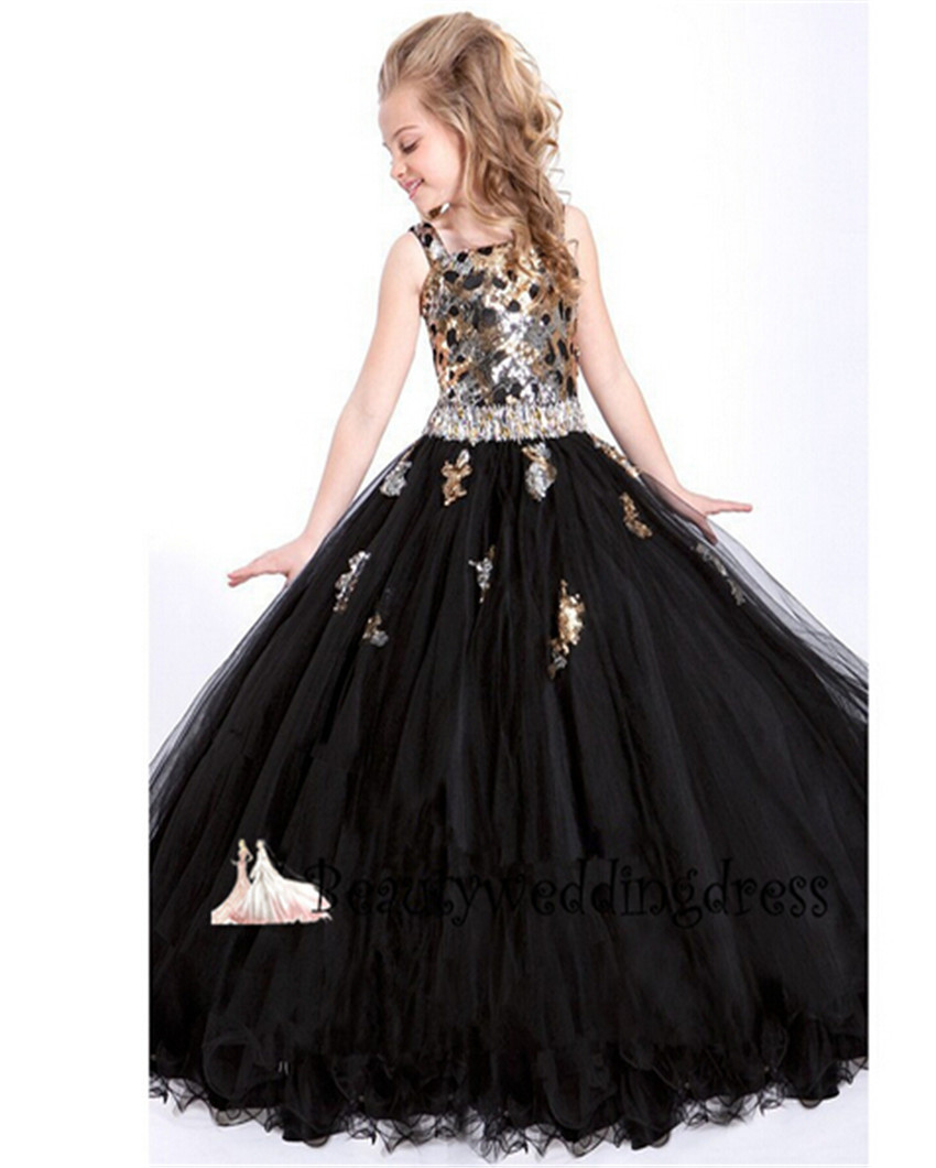 Buy Pretty Ball Gown Black Flower Girl Dress With Bow Shiny Beads