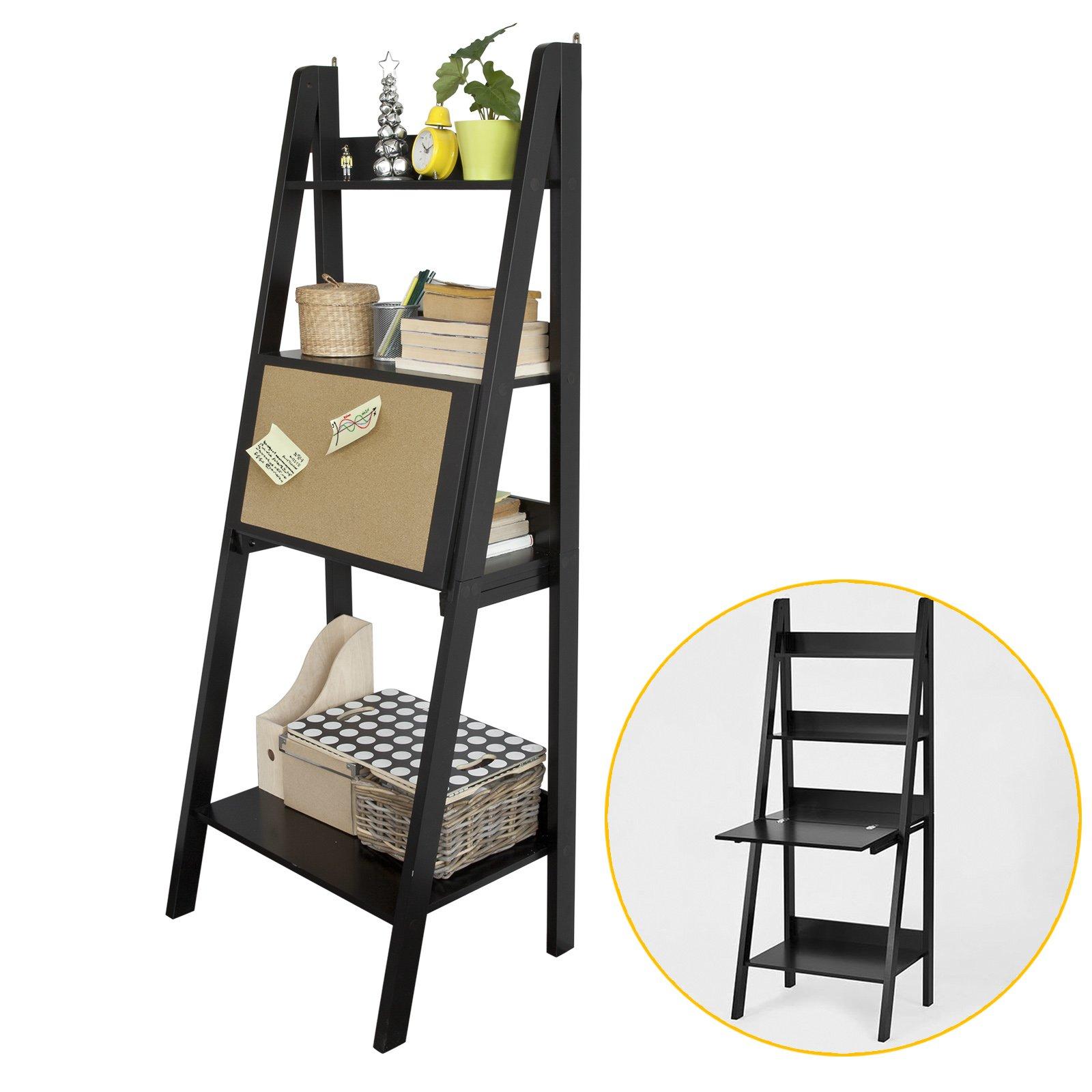 Buy Haotian Wood Modern Ladder Bookcase Book Shelf Free Stand Shelf With Memo Board Wall Shelf Desk Black Frg115 Sch In Cheap Price On Alibaba Com
