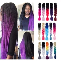 Dropshipping Fashion Color Gradient Individual Braid Hair Extension Wigs Big Braids Length 60cm Hair Black Magenta