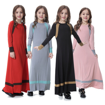 Islamic Girls Clothing Kaftans Jilbab Muslim Abaya Arab Middle East Malaysia Wholesale For Girls Kids Islamic Clothing DL2842