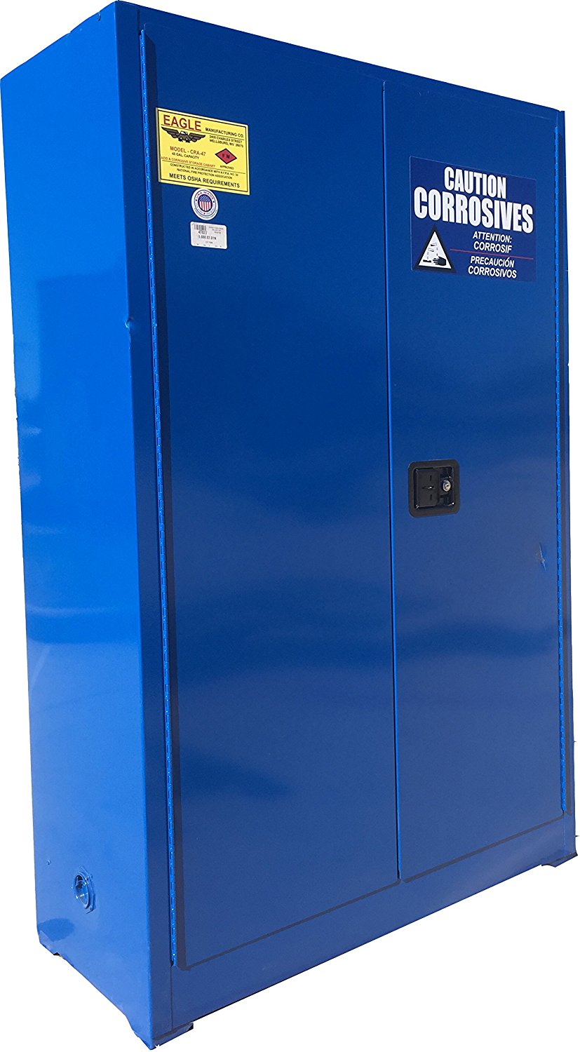 "Eagle CRA-47 Safety Cabinet for Corrosive Liquids, 2 Door Manual Close, 45 gallon, 65""Height, 43""Width, 18""Depth, Steel, Blue"