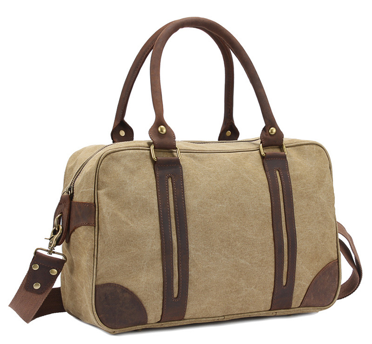 86dc04de0e3 Get Quotations · Vintage military Canvas Leather men travel bags Large men  weekend luggage   bags gym sports