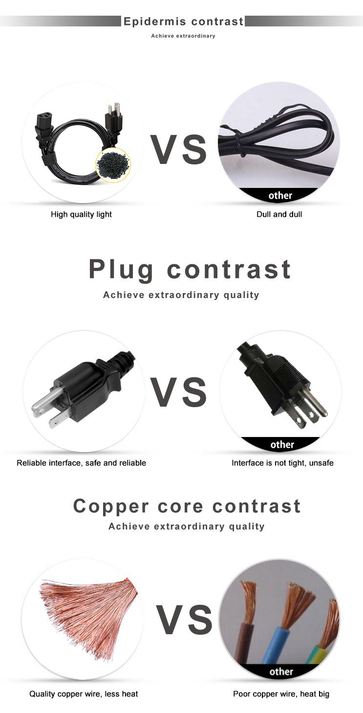 American Type Plug Computer Cable Usa Iec Laptop Custom Length 90 Degree Angle C13 Customized Power Cord